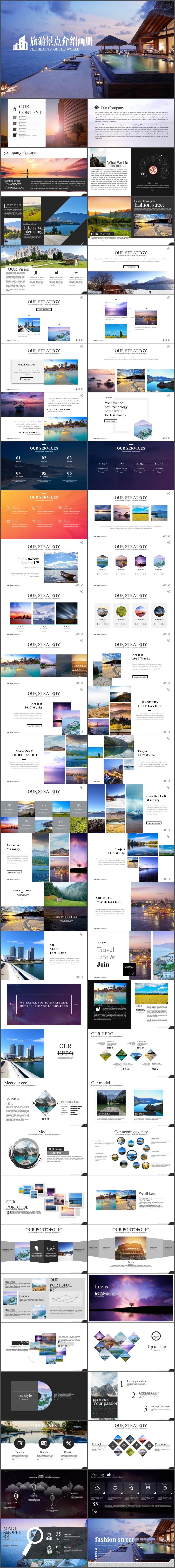高端时尚旅游摄影景点介绍电子相册PPT模板(395)